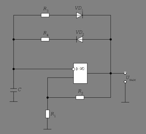Рис.2 Мультивибратор на ОУ